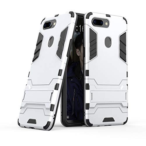 Xinanlongjb Für Oppo R15 Pro (Oppo R15 Dream Mirror Edition) mit Fallschutzhalterung Classic 2 in 1 Armor Series Coole Handyhalterungsfunktion Hartschalen-Hülle (Farbe : Silber)