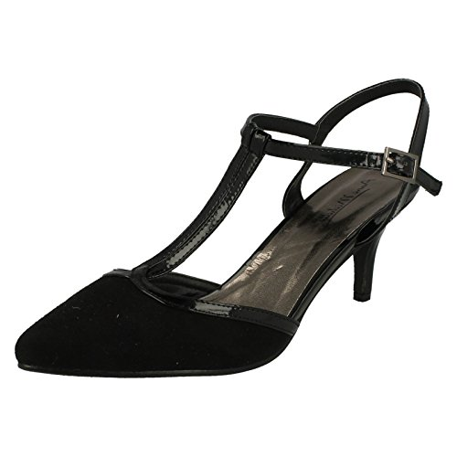 Womens Anne Michelle Mid Heel T Bar Court Shoe - Black Microfibre...