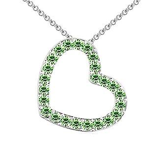 Daesar Schmuck Damenkette Vergoldet Herz Synthetische Kristall Halskette Zirkonia Halskette Anhänger