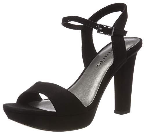 Tamaris 1-1-28398-22, Sandali con Cinturino alla Caviglia Donna, Nero (Black 1), 37 EU