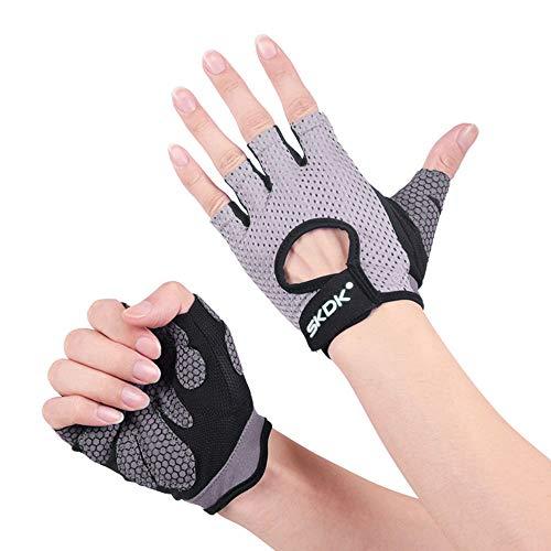 Selighting Fitness Handschuhe Damen Herren Trainingshandschuhe Atmungsaktiv Sporthandschuhe für Gym Krafttraining Radfahren Bodybuilding Gewichtheben Workout (Grau, M)