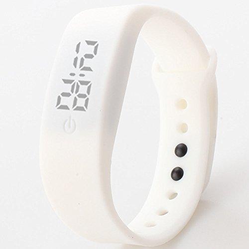 Delleu, mini orologio da polso, moderno, per uomini, donne, studenti, bambini, adatto per lo sport, a LED, elettronico, in silicone bianco white