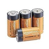 AmazonBasics - Batterie alcaline mezza torcia, 1.5 volt, per uso quotidiano, confezione da 4 (l'aspetto potrebbe variare dall'immagine)