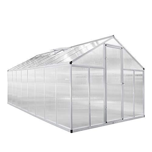 wolketon Gewächshaus aus Polycarbonat, Aluminium mit Stahlfundament, 19m³ | 480 x 240 x 205 cm | Treibhaus Gartenhaus Pflanzenhaus