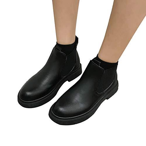 TianWlio Stiefel Frauen Winter Schuhe Stiefeletten Boots Stiefel Runde Zehe Dicker Absatz Slip-On Stiefel Warm Lässige Lackleder Schuhe Stiefeletten Schnürhalbschuhe Schuhe