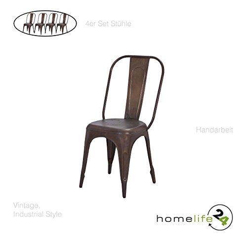 Stuhl Vintage 4er Set Metallstuhl rostig vintage shabby retro Design für das Esszimmer oder Küche...