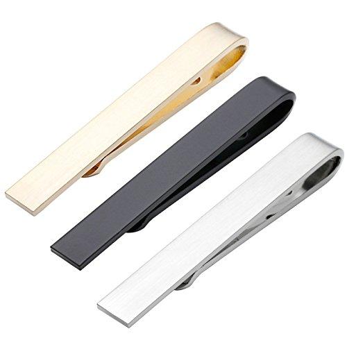 BOPREINA 3 Stücke Edelstahl Herren Dünn Skinny Krawattenklammer Set Business Hochzeit Krawattennadel Tie Clip Set mit Geschenk-box, silber/gold/schwarz (Set 3, Größe: 42 * 5mm)