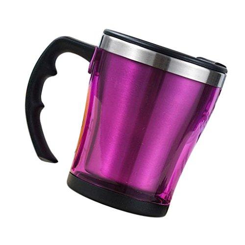 Fenteer Doppelwandiger Thermobecher 300 ml mit Griff Isolierbecher Edelstahl Thermotasse Auto Kaffeebecher - Lila