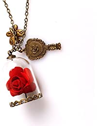 Beauty And The Beast Rose Butterly Mirror Charm Pendant Necklace Valentine Gift