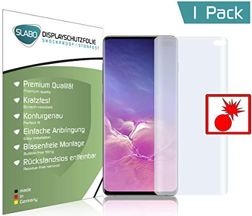 Slabo Protector de Pantalla blindado para Samsung Galaxy S10+   S10 Plus Pet Full Cover Trabaja con Fingerprint On Display   Shockproof A Prueba de Golpes