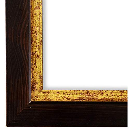 Online Galerie Bingold Bilderrahmen Schwarz Braun Gold 50x70-50 x 70 cm - Modern, Shabby, Vintage - Alle Größen - handgefertigt in Deutschland - LR - Catanzaro 3,9
