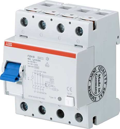 Price comparison product image ABB Stotz S & J Earth Leakage Circuit Breaker F204B + 40/0.03 4P, B +, 40 A 30 mA System Pro M Residual Current Circuit Breaker 8012542042822