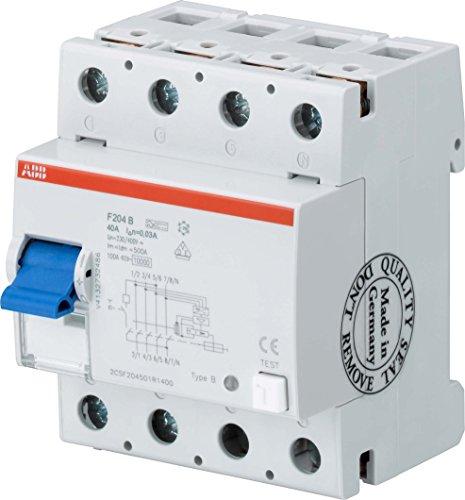 Price comparison product image ABB Stotz S & J Earth Leakage Circuit Breaker F204B + 40 / 0.03 4P,  B +,  40 A 30 mA System Pro M Residual Current Circuit Breaker 8012542042822