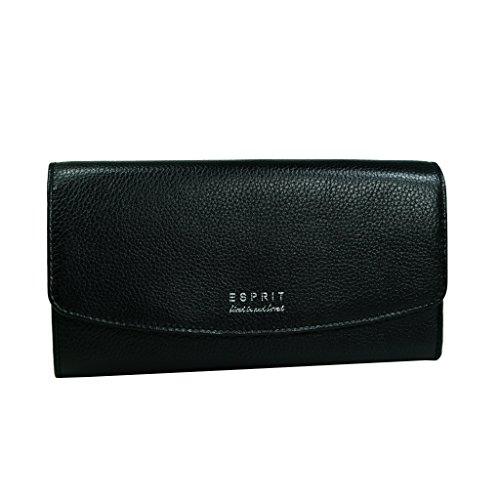 Esprit Geldbörse Classic Flap Clutch Schwarz Damen Portemonnaie Leder Börse Geldbeutel Brieftasche 117EA1V028-E001 (Flap Bag Schwarz-leder)
