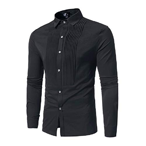CuteRose Mens Long Sleeve No Iron Plus-Size with Side Shirring Woven Shirt Black S Blue Stripe Bow Tie