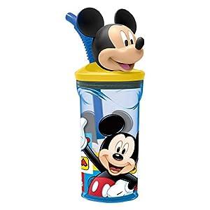 Mouse-19066 Mickey Mouse - Vaso plastico con figurita 3d, tapa y pajita 350 ml (Stor 19066) (