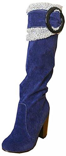 Bottes de neige Big taille 34.5-41.5 Place Talons genou chaussures de haute hiver pour les femmes sexy chaudes Bottes Fourrure Mode Boucle Bleu