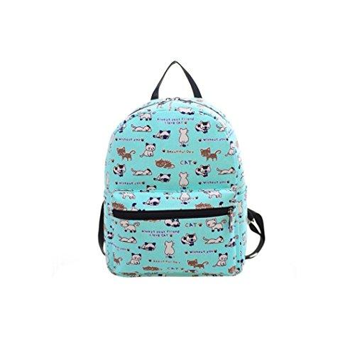 kingko® Épaule Femmes sac en toile Impression Sac d'école Sac à dos Rucksack bleu
