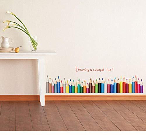 Suwhao Bunte Bleistift Sockelleisten Wandaufkleber Kinderzimmer Schlafzimmer Badezimmer Umweltfreundliche Abziehbilder Dekoration Wandbild -