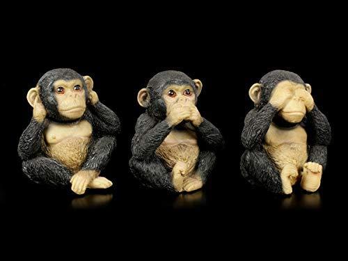 Affen Figuren 3er Set - Nichts Böses | Dekoartikel Tierfigur, handbemalt