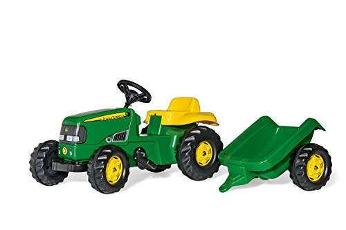 Rolly Toys 012190 Traktor rollyKid John Deere mit Anhänger rollyKid Trailer, Motorhaube öffenbar, Trettraktor mit geschütztem Integralkettenantrieb, ab 2,5 Jahren, Farbe grün