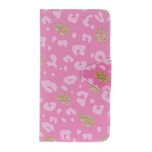 iphone SE 5 5S 5G Cover,Flip Cover Portafoglio Guscio Protettiva Custodia in Pelle per iphone SE 5 5S 5G Wallet Case Casi Caso Con carte di credito slot,Cozy Hut Elegante borsa Custodia in Pelle Prote Leopard Rosa