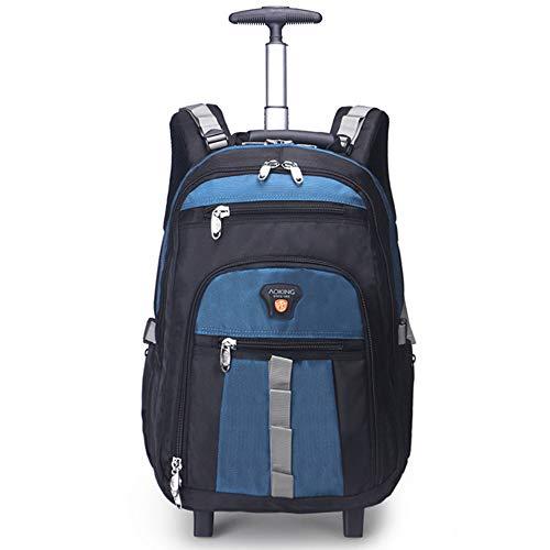AUNLPB Schulrucksack Unisex Frauen Männer Business Travel Wheeled Rolling Rucksack Trolley Fits 22 Zoll Laptop PC, Zwei Räder und Zwei Gefühle,Blue (Laptop-tasche Frauen Für Wheeled)