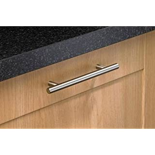 20 x Brushed Steel T Bar Kitchen Door Handles 128mm hole centres