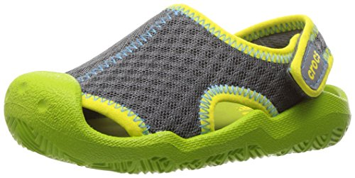 Crocs swiftwater k, sandali punta chiusa unisex – bambini, grigio (graphite/volt green), 27-28 eu