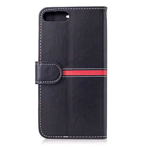 iPhone Case Cover IPhone 7 Plus Fall-Abdeckung, erstklassiger PU-lederner horizontaler Schlag-Standplatz-Fall mit Halter u. Wallet u. Karten-Schlitz u. Foto-Rahmen für Apple IPhone 7 plus 5.5 ( Color  Black