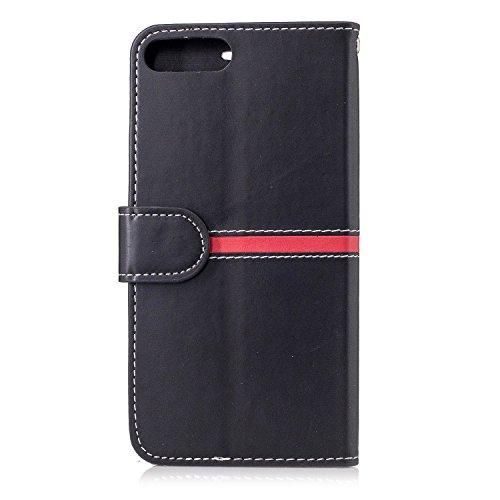 EKINHUI Case Cover IPhone 7 Plus Fall-Abdeckung, erstklassiger PU-lederner horizontaler Schlag-Standplatz-Fall mit Halter u. Wallet u. Karten-Schlitz u. Foto-Rahmen für Apple IPhone 7 plus 5.5 ( Color Black