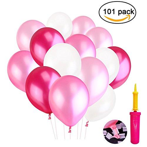 Erlliyeu 100 Stücke 12 Zoll Rosa Reihen Ballone Perle Latex Luftballons für Hochzeitsfest Dekorationen, 4 Farben (Pink)