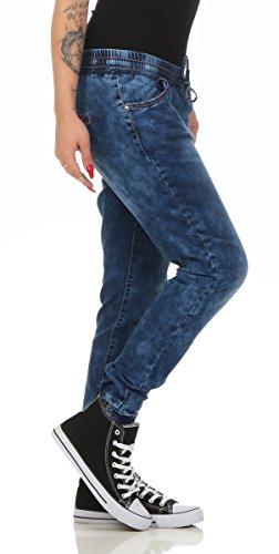 Fashion4Young Casual Damen Jeans Röhrenjeans Haremshose Baggy Haremsjeans Boyfriend Damenjeans 5726-dunkelblau