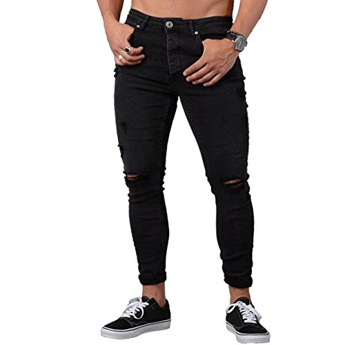 MCYs Men's Slim Jeans Shredded Pants Men Slim Biker Denim Jeans Skinny Frayed Pants Distressed Rip Blue