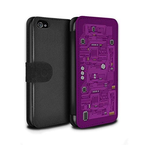 Stuff4 Coque/Etui/Housse Cuir PU Case/Cover pour Apple iPhone 4/4S / Vert Design / Circuit Board Collection Pourpre