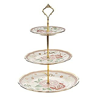 ARIANA© 3 Tier Vintage Floral Ceramic Display Cake Stand A-3 Golden Rose Green Leafs Design
