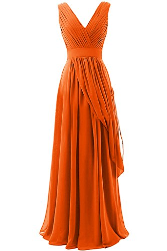 Sunvary A-line in Chiffon, lunga, scollo A V, quando viene piegato Evening Dresses Homecoming Gowns Orange