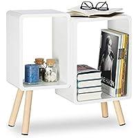 Relaxdays Würfelregal 2 Fächer, Retro Cubes mit Holzbeinen, dekorativer Beistelltisch, Holzregal HBT 55,5x55x24 cm, weiß preisvergleich bei kinderzimmerdekopreise.eu