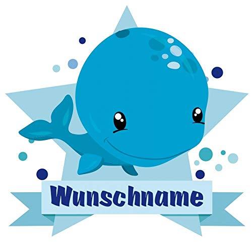 Samunshi® Süßer Wal Aufkleber mit Namen Autoaufkleber Namensaufkleber Kinder in 7 Größen (15x13,1cm Mehrfarbig)