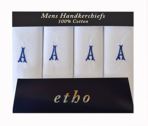 Mens//Gentlemens Plain White Handkerchiefs with Initials Various Pack Sizes