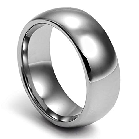 Umiso Men's Ring Tungsten Carbidesmooth Surface Round Shape Width 8mm Size J 1/2 Light Grey
