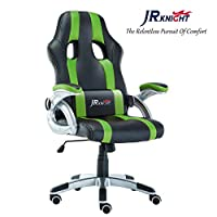 JR Knight Gaming Chair, Sporty Racer Chair Updated Version High Back Faux Leather Executive Desk Chair, Free Swivel Rocking Design with Adjustable Arms Match All Desks