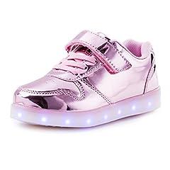 Idea Regalo - AFFINEST LED con Luci Sneakers Bright Light USB 7 Colori Bambino Scarpe Lampeggiante bambini Ragazzi Ragazze Regalo Natale Capodanno(Rosa,28)