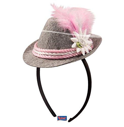 Mini-Hut/Tiara * OKTOBERFEST * mit pink-weißer Kordel und Federschmuck // F-20971 // Verkleidung Kostüm Mottoparty Geburtstag Mädchen Kinder Tiaras Diademe Bayern Hut