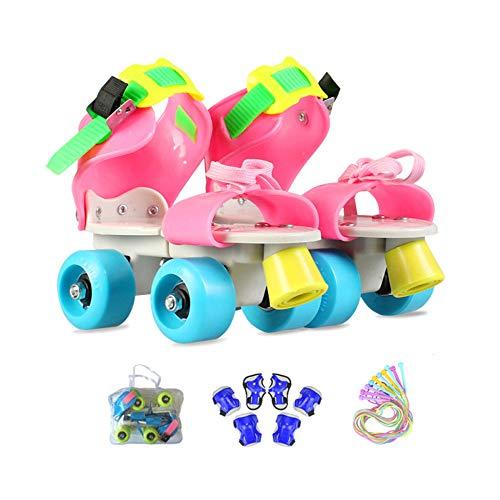 ZCRFY Inline-Skates Zweireihige Rollschuhe Einstellbar 4 Rad Kinder Anfänger Atmungsaktive Für Jungen Mädchen Indoor Und Outdoor Mit Schutzausrüstung Rollers Geburtstag Presen,Pink1-(25-36) Code