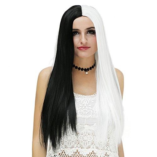 Damen Schwarz Weiß Patchwork Lang Halloween Cosplay Perücke mit Kappe