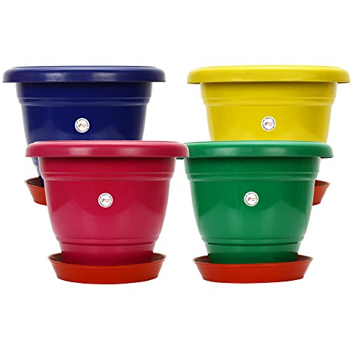 Gamla/Planter/Pot 10 - inch (Set of 4 Colourful pots) with Round Plastic...