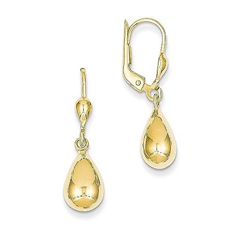 Yellow-gold 14k Polished Fancy Dangle Leverback Earrings