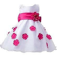 Vestido De Princesa Para Niña Traje De Ceremonia Vestido De Boda Fiesta Bautizo Vestido Flores Rose para 6-7 años
