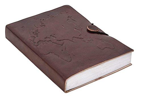 Notizbuch Gusti Leder DIN B6 Lederbuch Notizblock Buch Tagebuch Skizzenbuch Lederaccessoire Fotobuch Reisetagebuch Rezeptbuch Motiv Weltkarte Braun P64